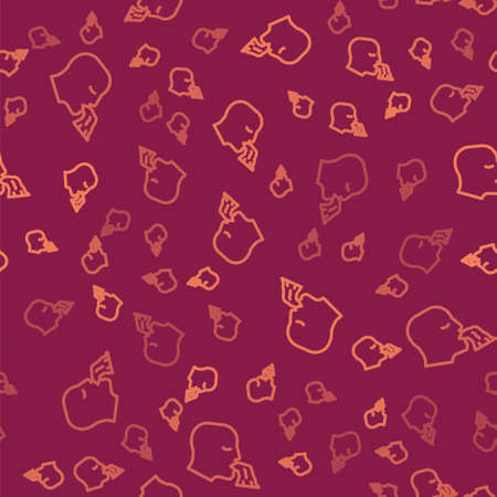 Brown line Vomiting man icon isolated seamless pattern on red background. Symptom of disease, problem with health. Nausea, food poisoning, alcohol poisoning concept. Vector