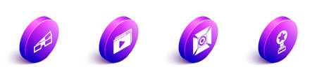 Set Isometric 3D cinema glasses, Online play video, Movie spotlight and Movie trophy icon. Vector