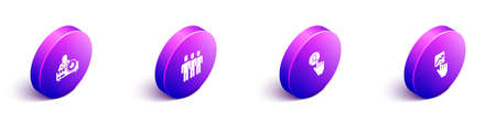 Set Isometric Media projector, Users group, Head hunting and Team leader icon. Vector