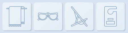 Set line Towel on a hanger, Sunbed, Glasses and Please do not disturb. White square button. Vector