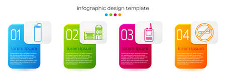 Set line Lighter, Building of fire station, Walkie talkie and No Smoking. Business infographic template. Vector