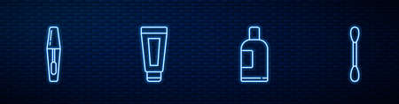 Set line Bottle of shampoo, Mascara brush, Cream or lotion cosmetic tube and Cotton swab for ears. Glowing neon icon on brick wall. Vector