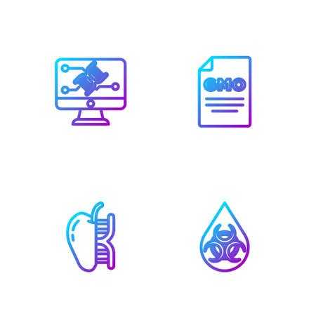Set line GMO, Genetically modified apple, engineering modification and . Gradient color icons. Vector Иллюстрация
