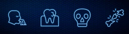 Set line Skull, Vomiting man, Tooth with caries and Human broken bone. Glowing neon icon on brick wall. Vector