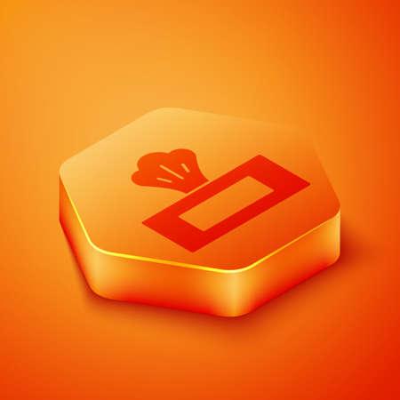 Isometric Wet wipe pack icon isolated on orange background. Orange hexagon button. Vector Illustration