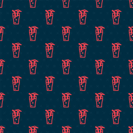 Red line Cocktail and alcohol drink with umbrella icon isolated seamless pattern on black background. Vector