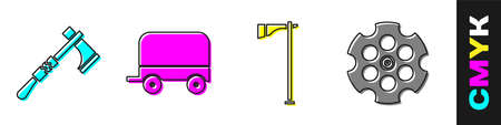 Set Tomahawk axe, Wild west covered wagon, Tomahawk axe and Revolver cylinder icon. Vector