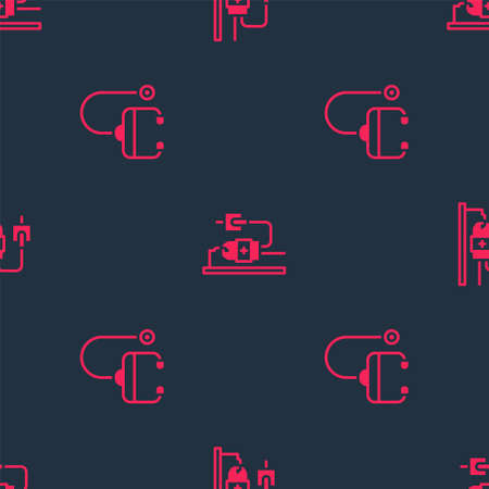 Set Stethoscope and IV bag on seamless pattern. Vector Vettoriali