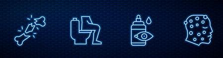 Set line Eye drop bottle, Human broken bone, Constipation and Psoriasis or eczema rash. Glowing neon icon on brick wall. Vector Vector Illustratie