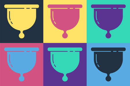 Pop art Menstrual cup icon isolated on color background. Feminine hygiene. Protection for woman in critical days. Vector
