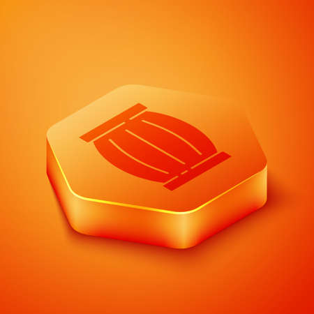 Isometric Gun powder barrel icon isolated on orange background. TNT dynamite wooden old barrel. Orange hexagon button. Vector