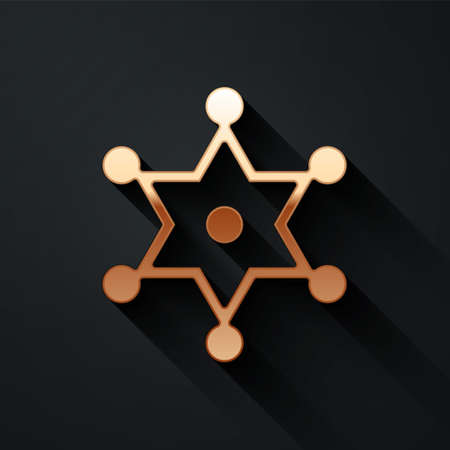 Gold Hexagram sheriff icon isolated on black background. Police badge icon. Long shadow style. Vector