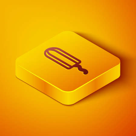 Isometric line Menstruation and sanitary tampon icon isolated on orange background. Feminine hygiene product. Yellow square button. Vector 向量圖像