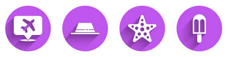 Set Speech bubble with airplane, Man hat with ribbon, Starfish and Ice cream icon with long shadow. Vector