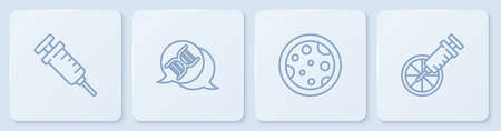Set line Syringe, Petri dish with bacteria, DNA symbol and Genetically modified orange. White square button. Vector