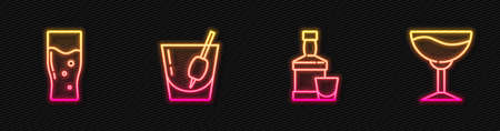 Set line Whiskey bottle and glass, Glass of beer, Cocktail Bloody Mary and Wine. Glowing neon icon. Vector