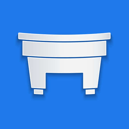 Paper cut Billiard table icon isolated on blue background. Pool table. Paper art style. Vector