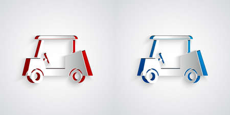 Paper cut Golf car icon isolated on grey background. Golf cart. Paper art style. Vector