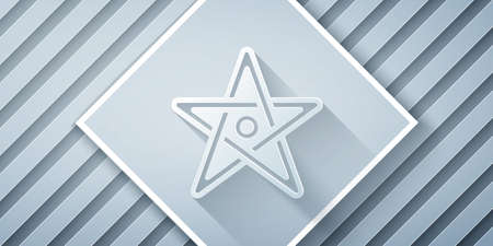 Paper cut Pentagram icon isolated on grey background. Magic occult star symbol. Paper art style. Vector