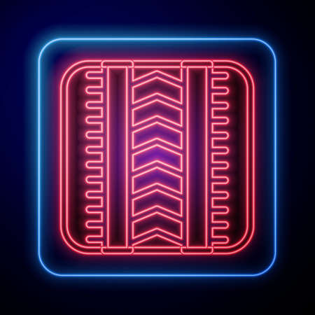 Glowing neon Tire track icon isolated on black background. Vector