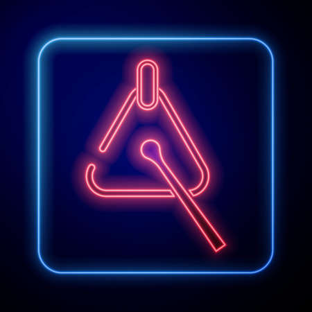 Glowing neon Triangle musical instrument icon isolated on black background. Vector