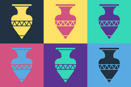 Pop art Ancient amphorae icon isolated on color background. Vector