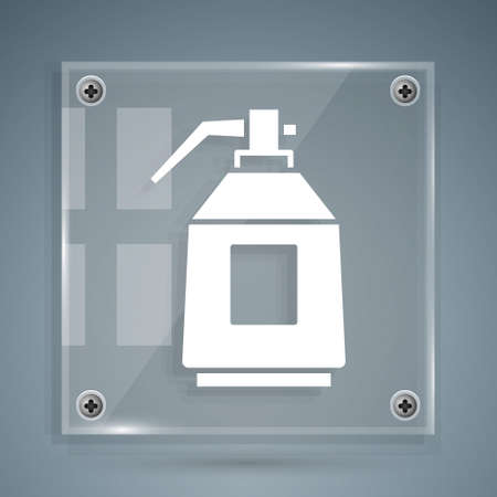 White Paint spray gun icon isolated on grey background. Square glass panels. Vector