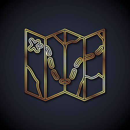 Gold line Golf course layout icon isolated on black background. Vector