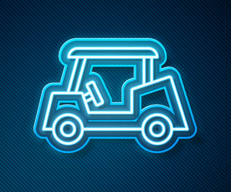Glowing neon line Golf car icon isolated on blue background. Golf cart. Vector