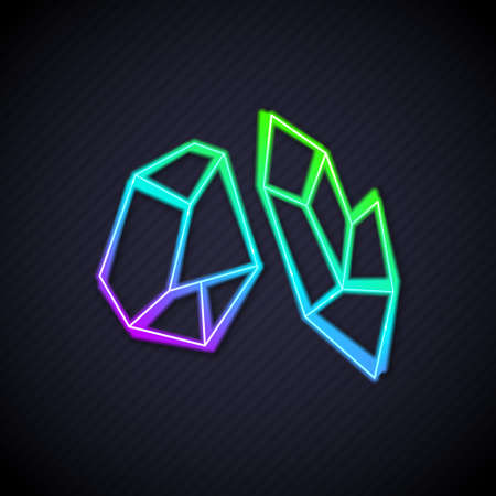 Glowing neon line Magic stone icon isolated on black background. Fantasy crystal. Jewelry gem for game. Vector