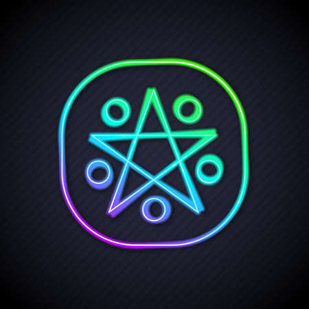 Glowing neon line Pentagram in a circle icon isolated on black background. Magic occult star symbol. Vector