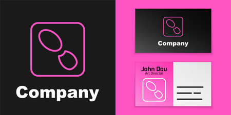 Pink line Human footprints shoes icon isolated on black background. Shoes sole. Logo design template element. Vector
