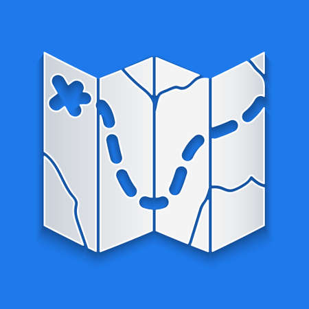 Paper cut Golf course layout icon isolated on blue background. Paper art style. Vector