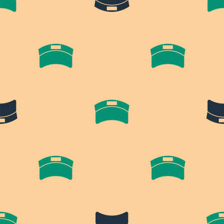 Green and black Sun visor cap icon isolated seamless pattern on beige background. Sport equipment. Sports uniform. Vector