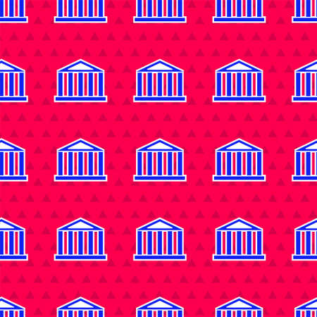 Blue Parthenon from Athens, Acropolis, Greece icon isolated seamless pattern on red background. Greek ancient national landmark. Vector
