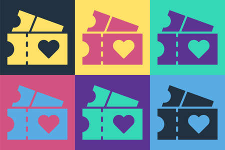 Pop art Love ticket icon isolated on color background. Valentines day sign. Couple relationships symbol. Vector