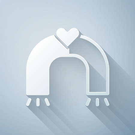 Paper cut Love magnet icon isolated on grey background. Paper art style. Vector