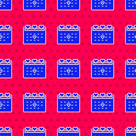 Blue Calendar with heart icon isolated seamless pattern on red background. Valentines day. Love symbol. February 14. Vector