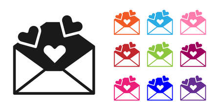 Black Envelope with Valentine heart icon isolated on white background. Message love. Letter love and romance. Set icons colorful. Vector Illustration