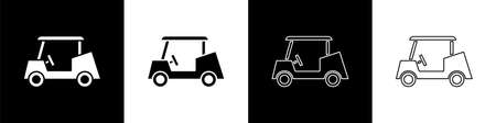 Set Golf car icon isolated on black and white background. Golf cart. Vector