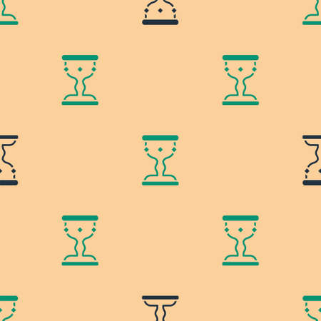 Green and black Medieval goblet icon isolated seamless pattern on beige background. Vector