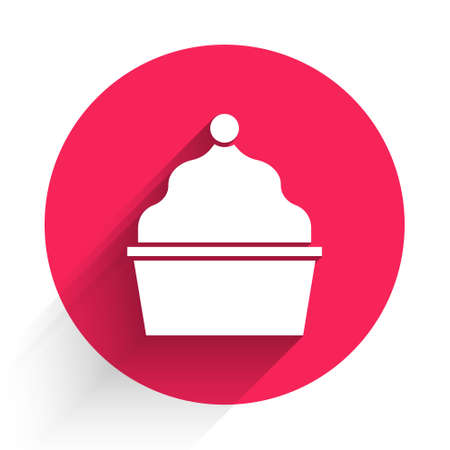 White Cake icon isolated with long shadow. Happy Birthday. Red circle button. Vector