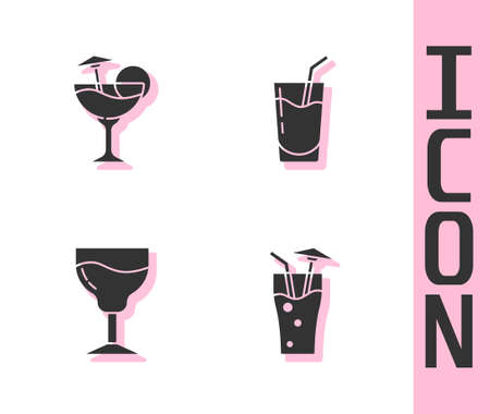 Set Cocktail, , Wine glass and icon. Vector
