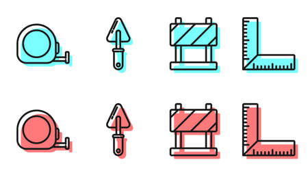 Set line Road barrier, Roulette construction, Trowel and Corner ruler icon. Vector