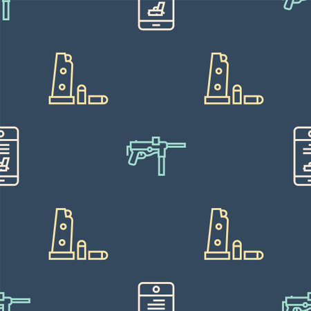 Set line Shop weapon in mobile app, Gun magazine and bullets and Submachine gun M3 on seamless pattern. Vector