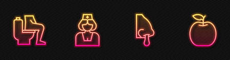 Set line Runny nose, Constipation, Nurse and Apple. Glowing neon icon. Vector Stock Illustratie