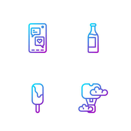 Set line Romantic hot air balloon, Ice cream, Mobile with heart and Wine bottle. Gradient color icons. Vector