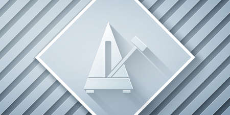 Paper cut Classic Metronome with pendulum in motion icon isolated on grey background. Equipment of music and beat mechanism. Paper art style. Vector Vektorgrafik