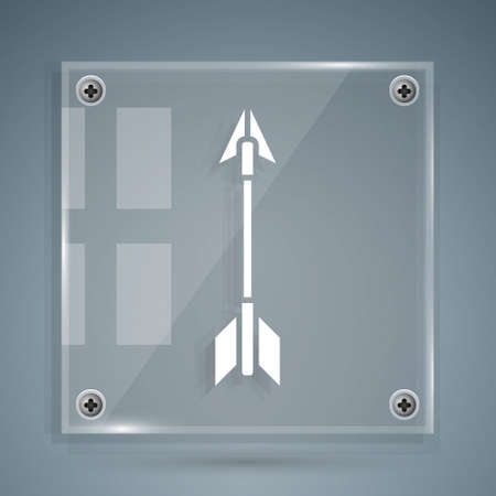White Crossed arrows icon isolated on grey background. Square glass panels. Vector