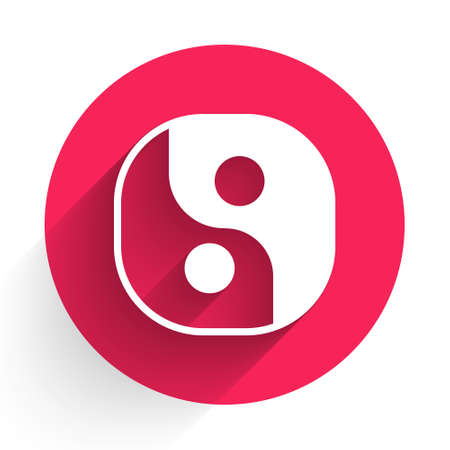 White Yin Yang symbol of harmony and balance icon isolated with long shadow. Red circle button. Vector